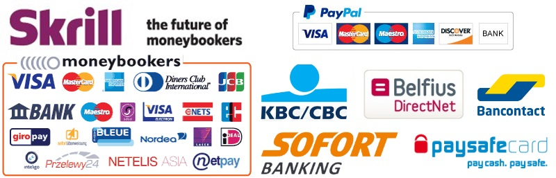 We accept: PayPal and Skrill. Creditcards, SEPA bank transfers, Ideal, Paysafecards, Sofort banking