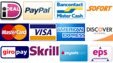 Ideal, Paypal, Skrill, Paysafecard, Mastercard, Visa and American Express creditcards accepted!